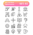 seo and web optimization outline icons vector image vector image
