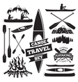 set canoe and kayak design elements two man vector image