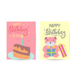 set cute creative birthday card templates hand vector image vector image