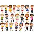 set happy children waving hands vector image vector image