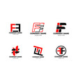 set initial letter ff logo template design vector image vector image