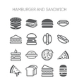 Set of simple icons with hamburgers sandwiches vector image vector image