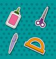 set school tools with patche sticker design vector image