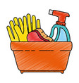 shopping basket with cleaning products