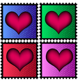 stamps with heart vector image vector image