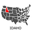 state of idaho on map of usa vector image vector image