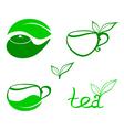 Stylized tea icons vector image
