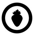 the strawberry the black color icon in circle or vector image