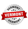 Vermont round silver badge with red ribbon vector image