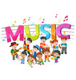 word music with group band playing music vector image
