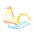 yacht on water and sun vector image vector image