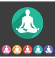Yoga asana icon flat web sign symbol logo label vector image vector image