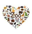 zoo heart shape vector image vector image