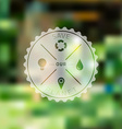 Save Planet Badge with Blured Ecology Background vector image