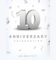 10 years silver number anniversary celebration vector image vector image