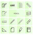 14 pencil icons vector image vector image