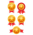 3d gold medal with star and red ribbon winner vector image vector image
