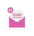 65 years anniversary icon missive in purple letter vector image vector image