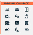 architecture icons set with tape ruler builder vector image vector image