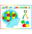 autism awareness graphic elements vector image vector image