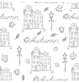 autumn seamless pattern houses vector image vector image
