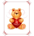 Bear toy with heart for Valentine Day card design vector image vector image