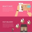 beauty online shop make-up from gadget phone fast vector image vector image