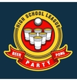 Beer pong party logo vector image vector image