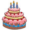 big cartoon birthday cake vector image vector image