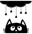 black cat looking up to cloud with hanging heart vector image vector image