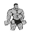 bodybuilder with dumbbells vector image vector image