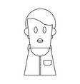 boy cartoon profile in black and white vector image vector image