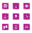 carpet cleaning icons set grunge style vector image