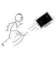 cartoon angry man kicking out computer vector image vector image