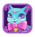 cartoon app icon with blue pretty kitty girl vector image vector image
