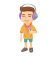 caucasian boy listening to music in headphones vector image vector image