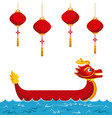 chinese red dragon lanterns traditional culture vector image