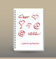 cover of diary or notebook hand drawing symbols vector image vector image