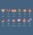 cute astrology horoscope zodiac icons vector image