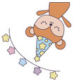 cute monkey with hat party and garland vector image vector image