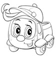 cute truck character in a cap and with a big bang vector image vector image