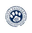 dog foot stamp circle logo design vector image