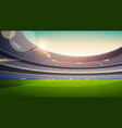 empty football stadium field view sunset flat vector image