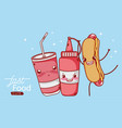 fast food cute hot dog sauce and plastic cup soda vector image