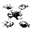 fishes and octopus set vector image