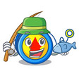 fishing yoyo mascot cartoon style vector image