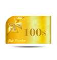 Gift Voucher gold card with ribbon and bow vector image