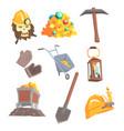 gold mining set for label design mining vector image vector image