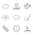 golf icons set outline style vector image vector image