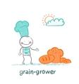 grain grower thinks about bread vector image vector image
